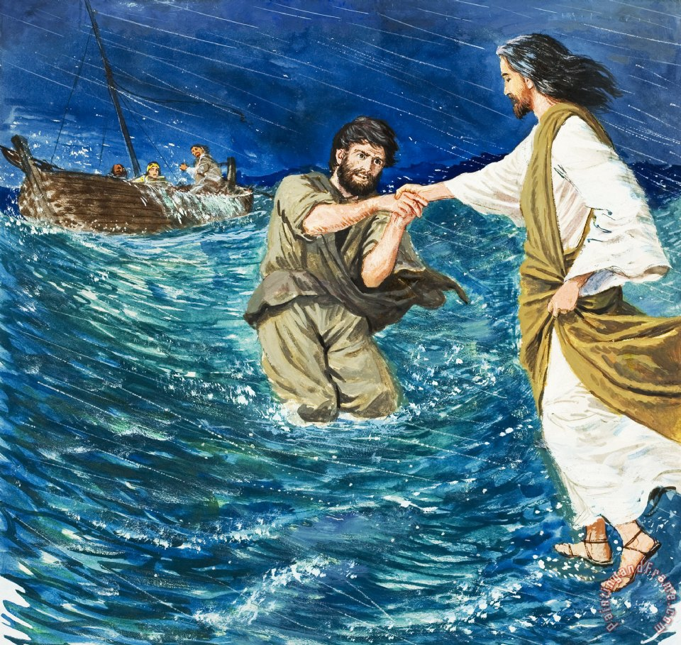 Clive Uptton The Miracles of Jesus Walking on Water Art Print