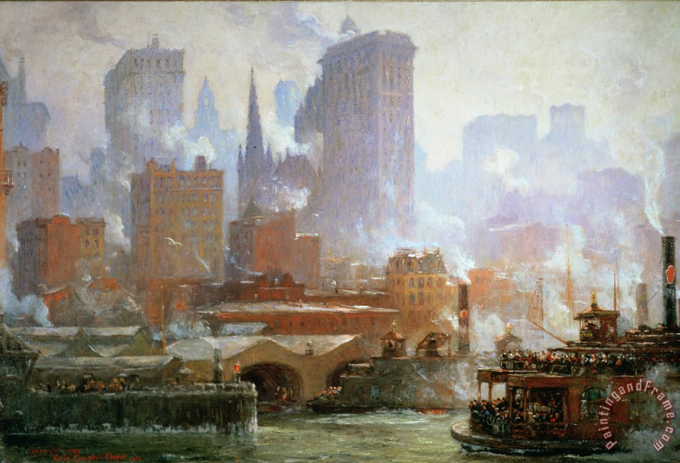 Colin Campbell Cooper Wall Street Ferry Ship Painting