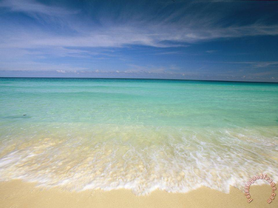 Collection Clear Blue Water And Wispy Clouds Along The Beach at Cancun Art Print