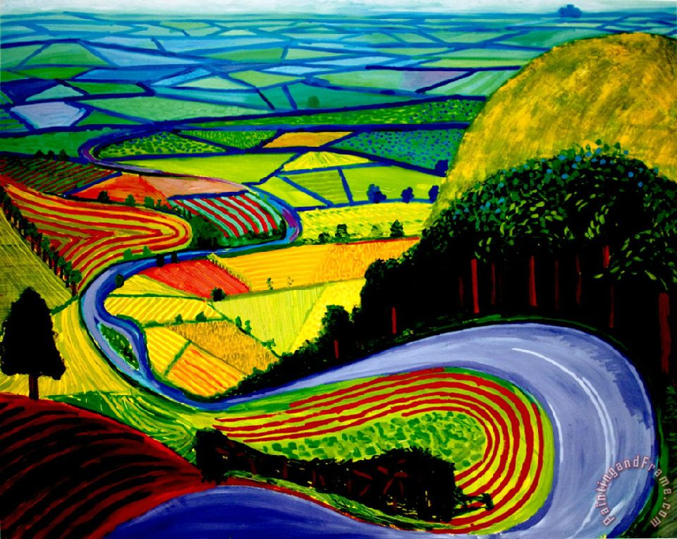 David Hockney Garrowby Hill painting - Collection David Hockney Garrowby Hill Art Print