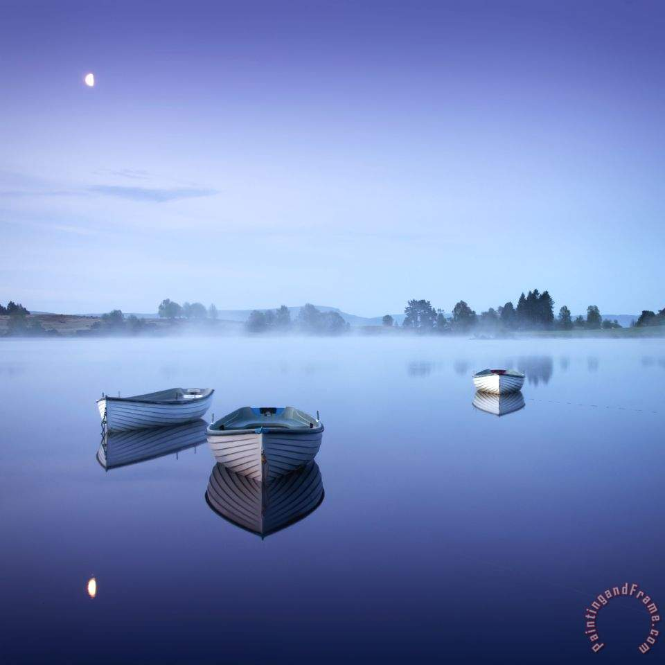 Loch Rusky Moonlit Morning painting - Collection Loch Rusky Moonlit Morning Art Print