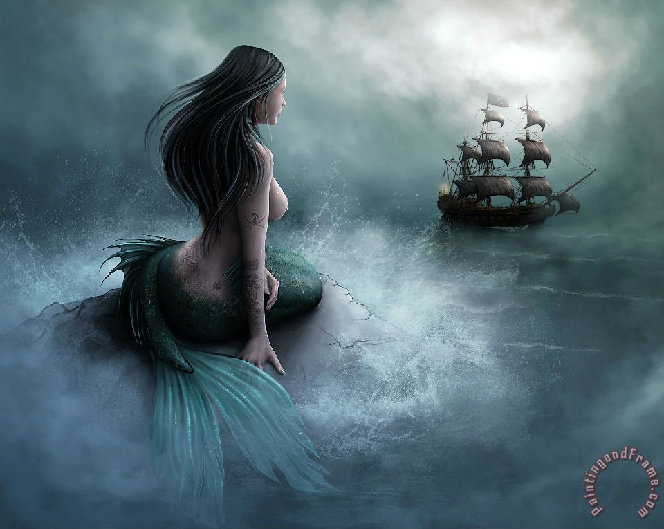 Mermaid And Pirate Ship painting - Collection Mermaid And Pirate Ship Art Print