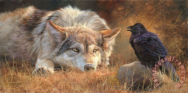 Wolf Crow painting - Collection Wolf Crow Art Print
