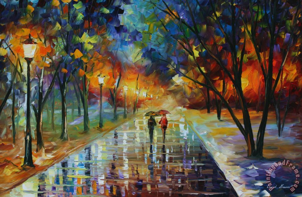 Leonid Afremov Winter Park Art Print