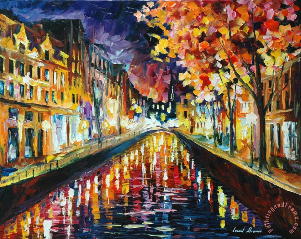 Leonid Afremov Amsterdam Night Painting Amsterdam Night