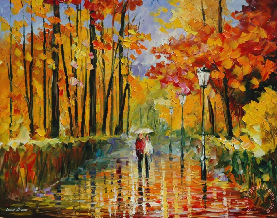 Leonid Afremov Autumn Rain Painting Autumn Rain Print