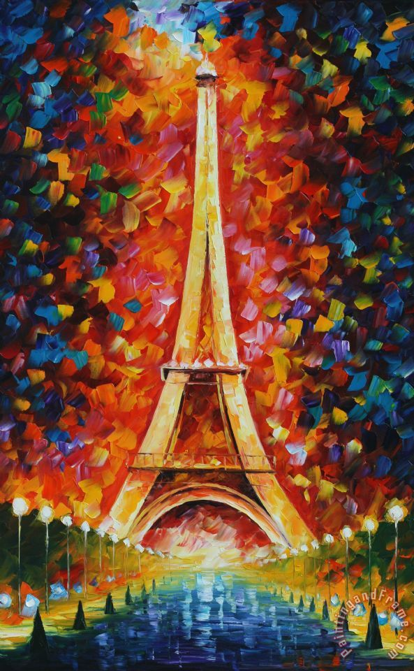 Leonid afremov eiffel tower painting eiffel tower print for Definicion de pintura mural