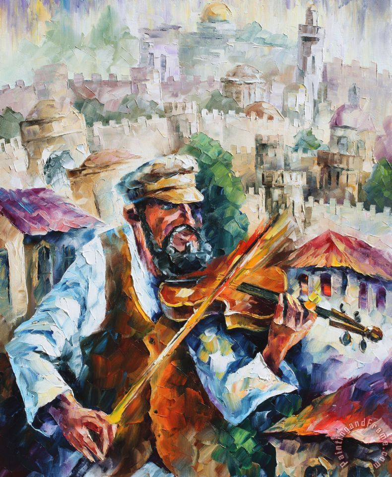 Fiddler  - Commissioned painting painting - Leonid Afremov Fiddler  - Commissioned painting Art Print