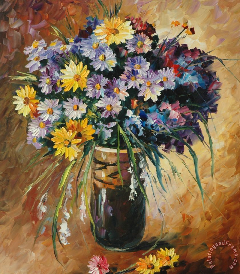 Burgundy And Blue Flowers Painting