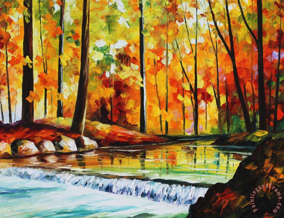 Forest Stream Large Size Photo Large Print Available painting - Leonid Afremov Forest Stream Large Size Photo Large Print Available Art Print