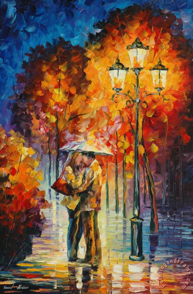 Leonid Afremov Kiss Under The Rain Art Print for sale ...