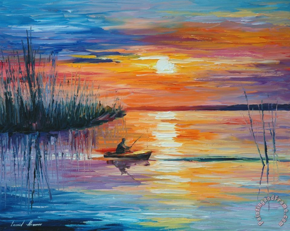 Leonid Afremov Lake Okeechobee Sunset Fishing Art Print