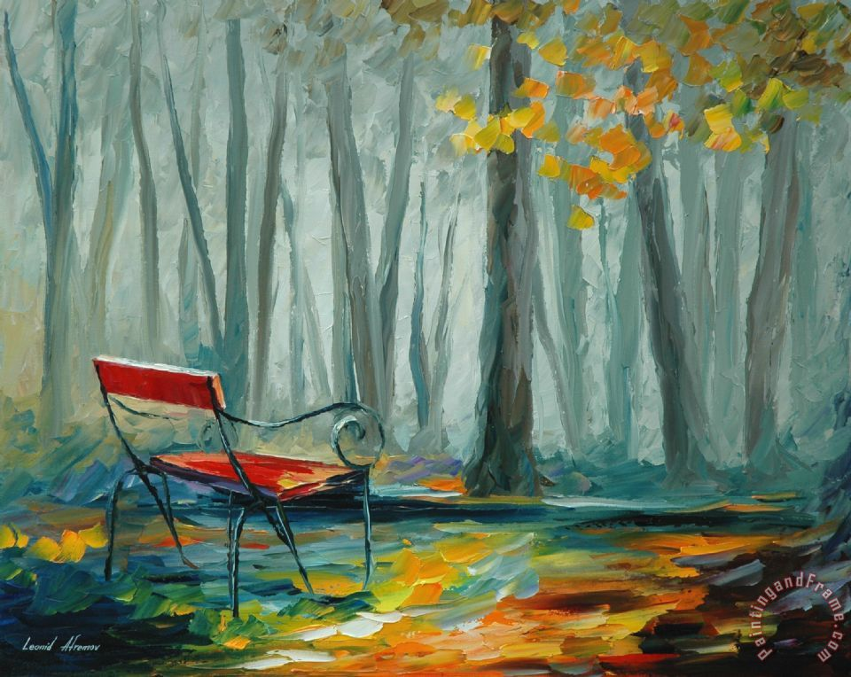 Leonid Afremov Lonely Bench Painting Lonely Bench Print
