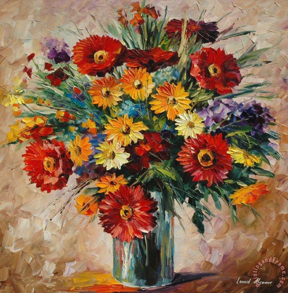 Leonid Afremov Magic Flowers Painting Magic Flowers
