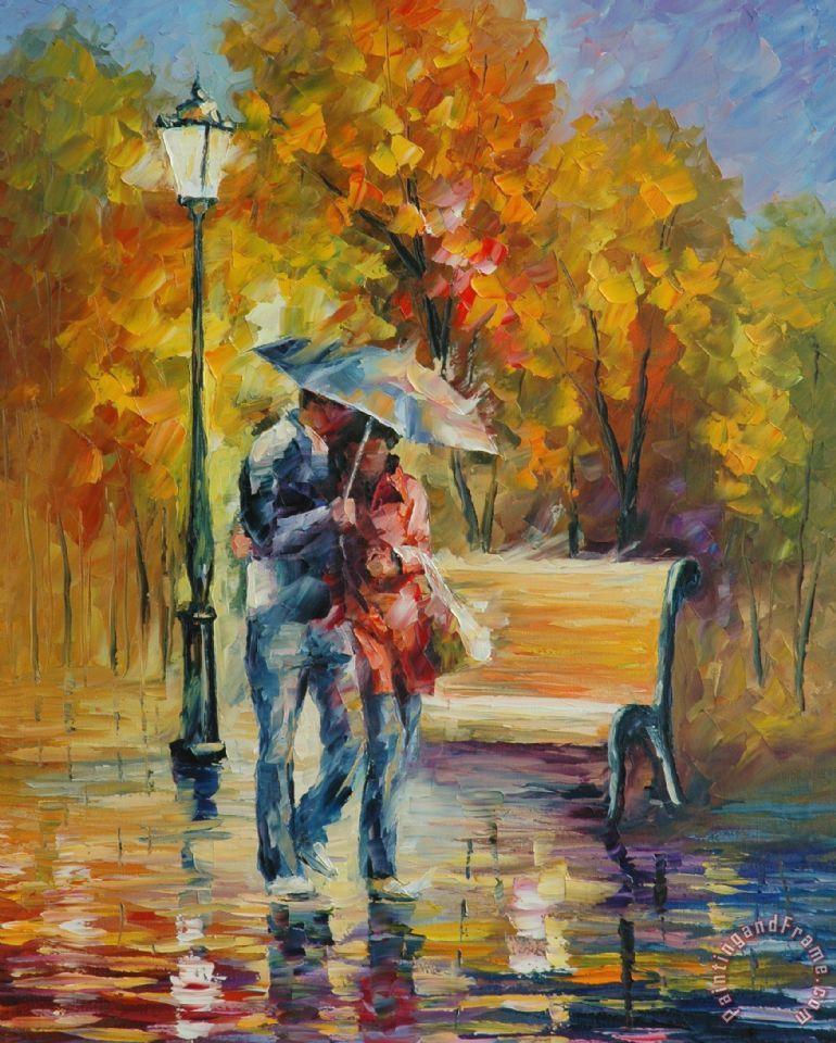 Leonid afremov red raincoat painting red raincoat print - Cuadros de parejas ...