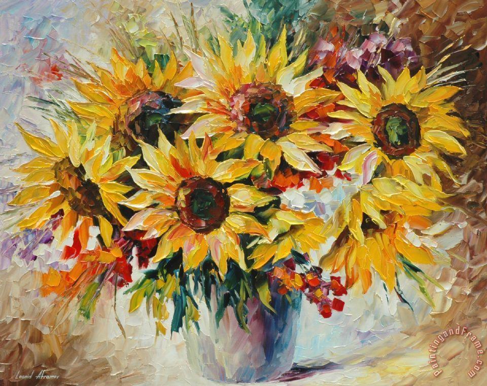 Leonid Afremov Sun Flowers Painting Sun Flowers Print