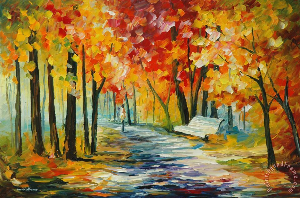 Leonid Afremov Sunny Bench Art Painting For Sale