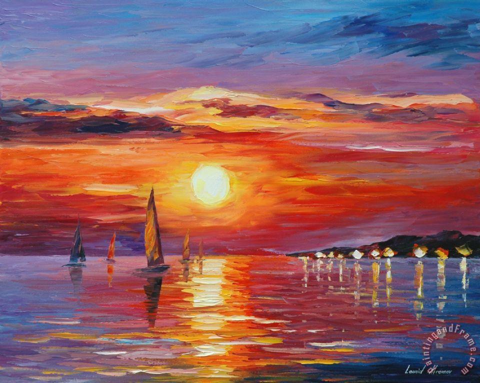Leonid Afremov Sunset Painting Sunset Print For Sale