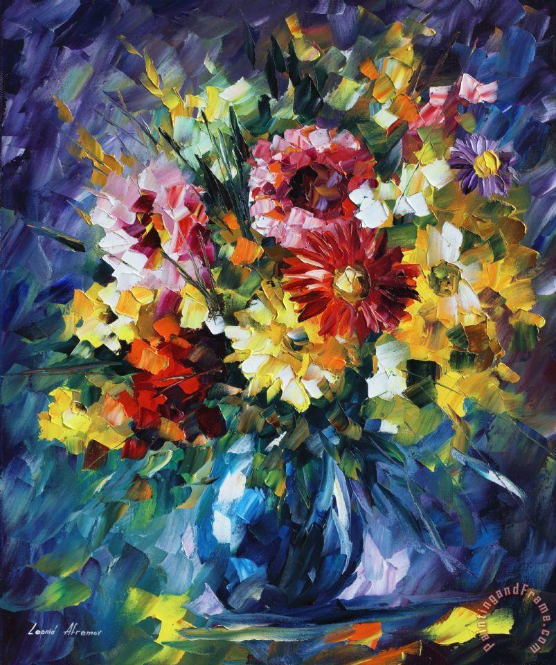 Leonid Afremov Surreal Flowers Painting Surreal Flowers