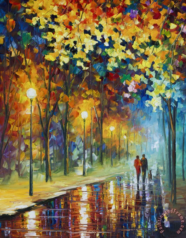 Leonid Afremov The Warmth Of Friends Art Print