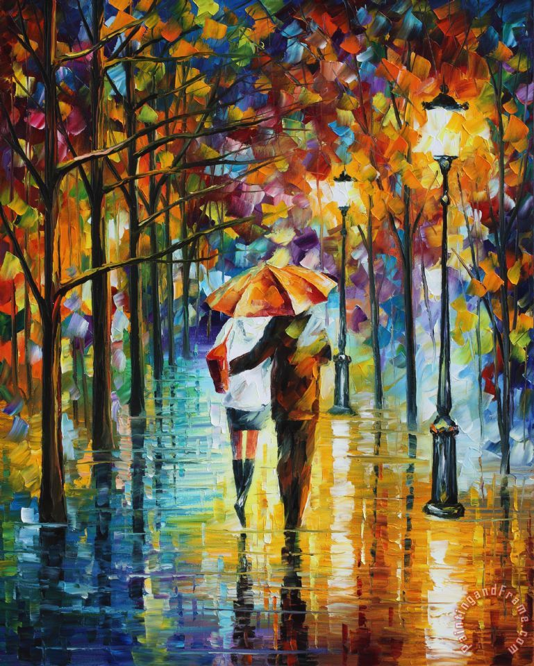 Leonid Afremov Under the red umbrella Art Print for sale ...