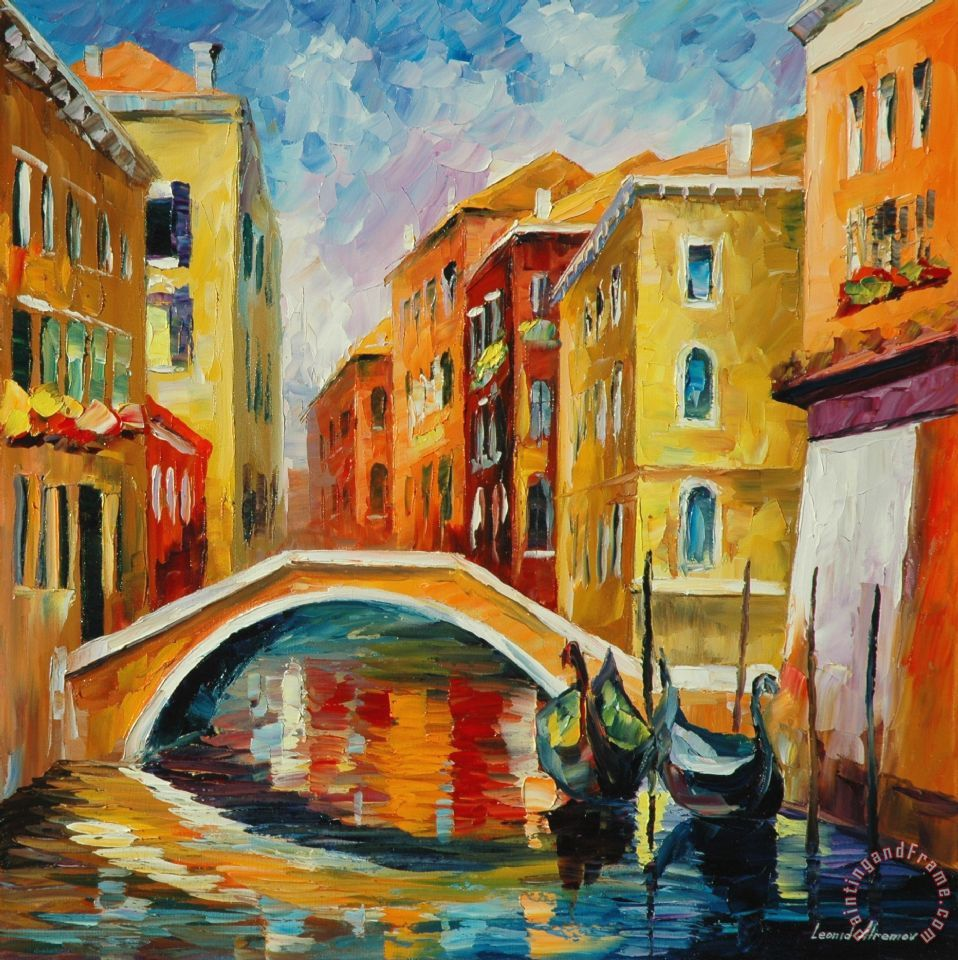 Leonid Afremov Venice Bridge Art Painting