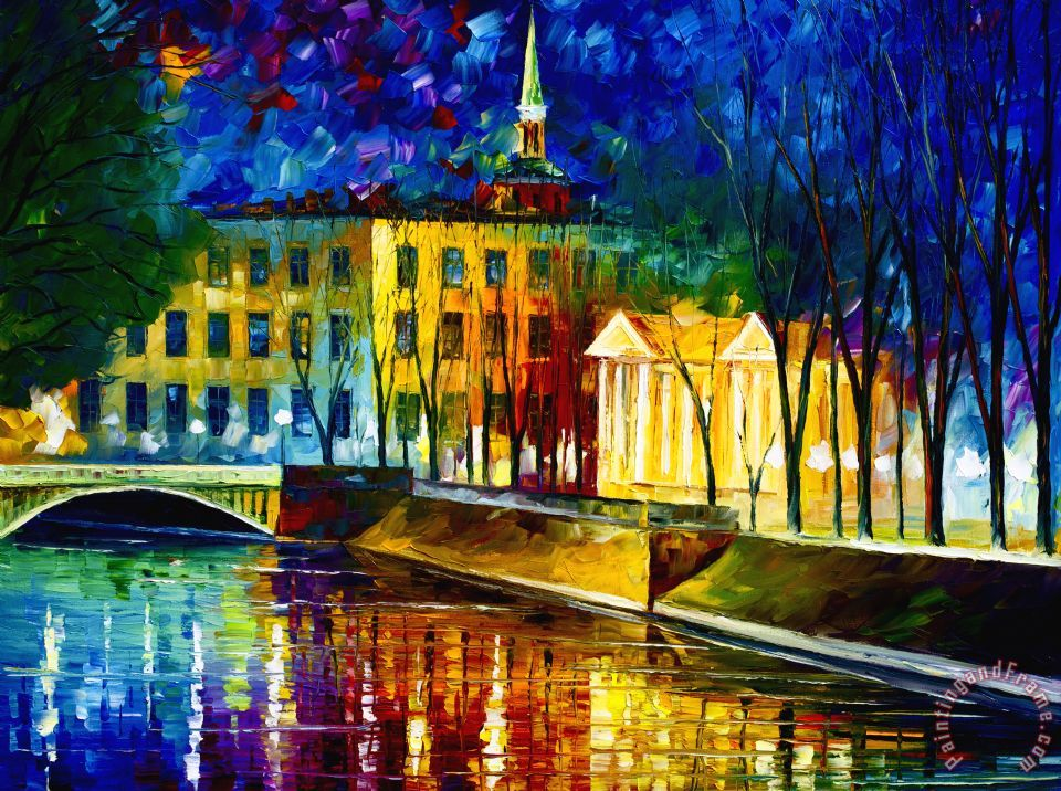 Very Large Winter Vibrations painting - Leonid Afremov Very Large Winter Vibrations Art Print