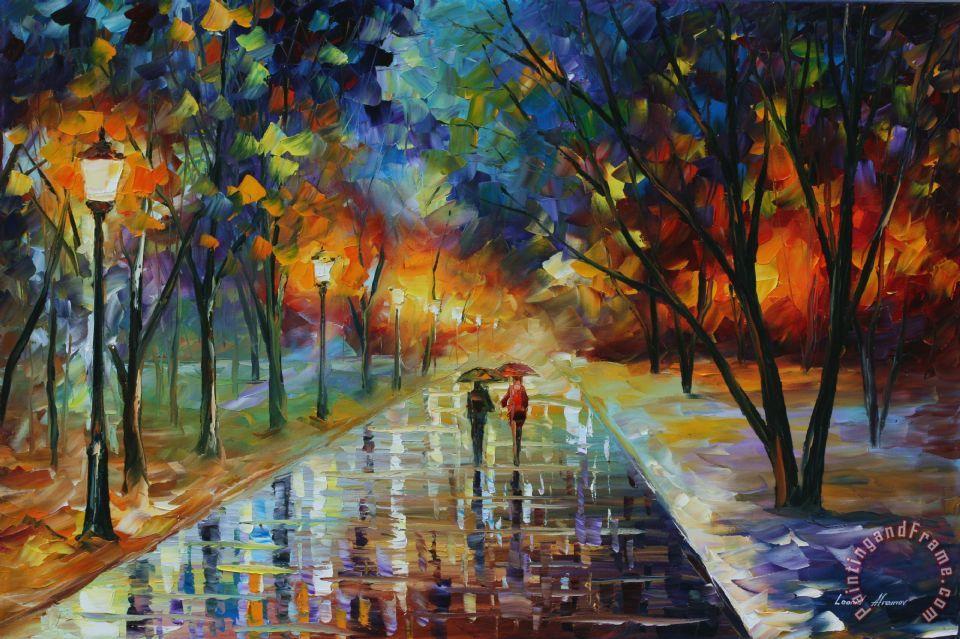 Leonid Afremov Winter Park Painting Winter Park Print