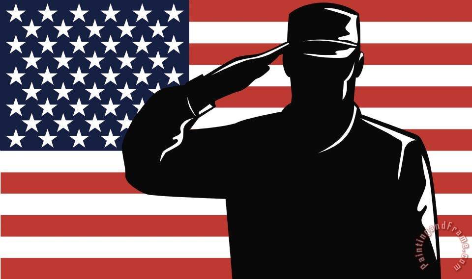 Collection 10 American Soldier salute Art Print