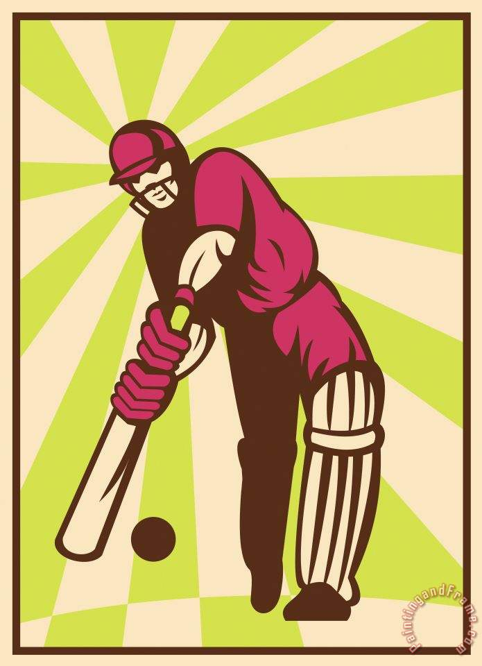 Cricket Sports Batsman Batting Retro painting - Collection 10 Cricket Sports Batsman Batting Retro Art Print