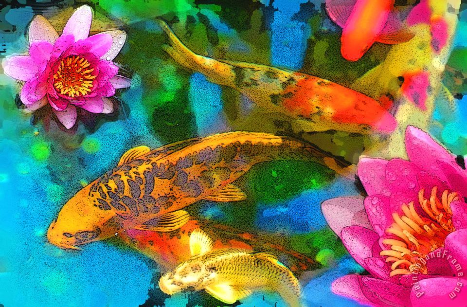 Koi play painting - Collection 8 Koi play Art Print