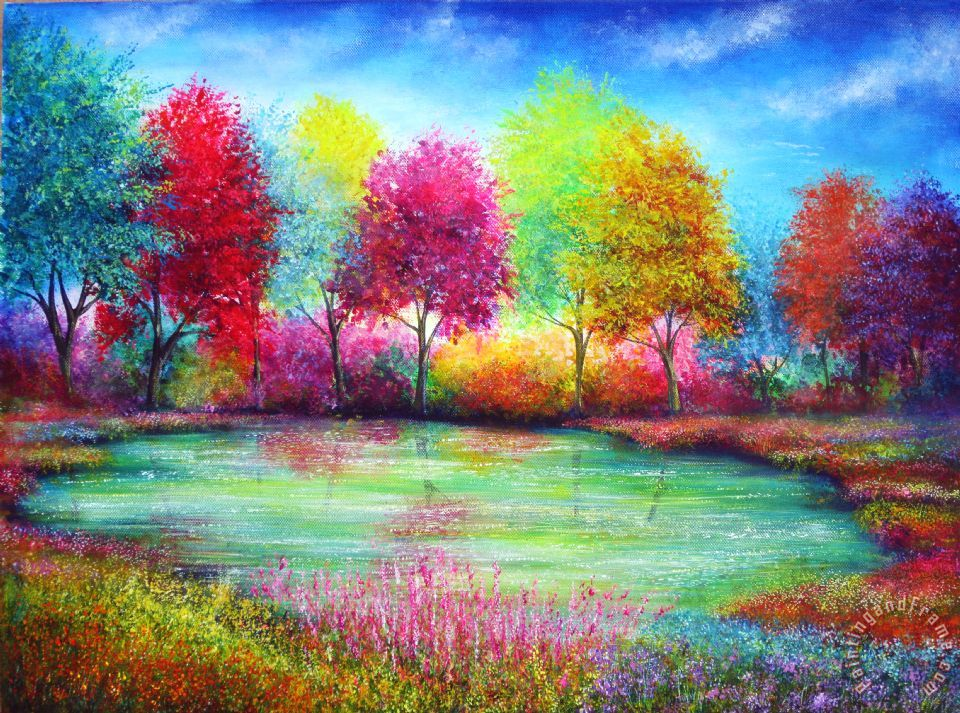 Collection 9 Paradise Pond Painting Paradise Pond Print