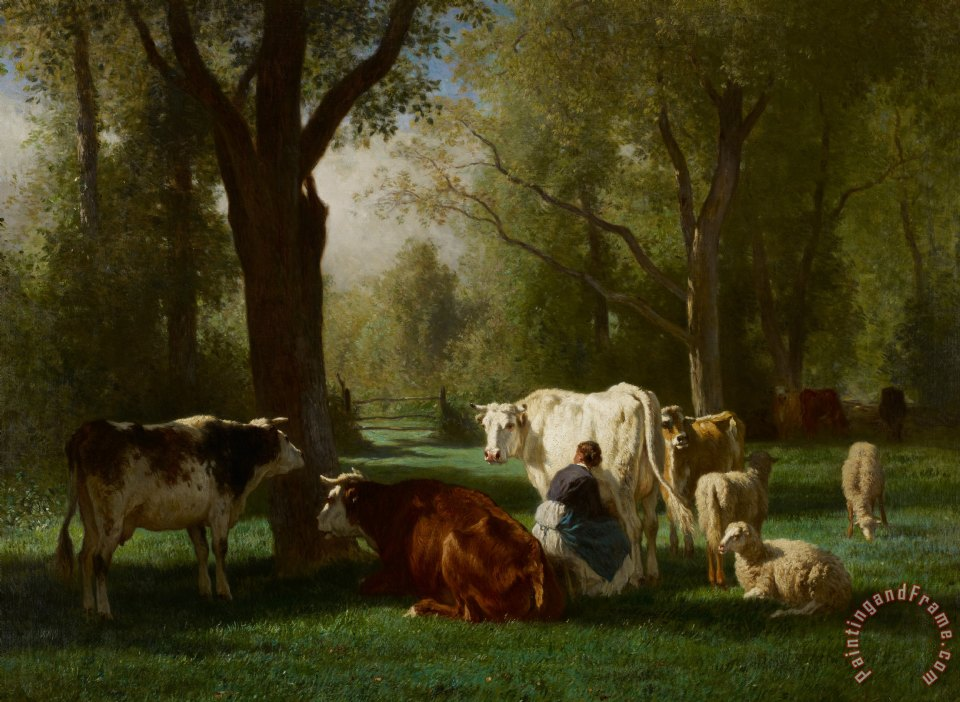 Constant-Emile Troyon Landscape With Cattle And Sheep Art Print
