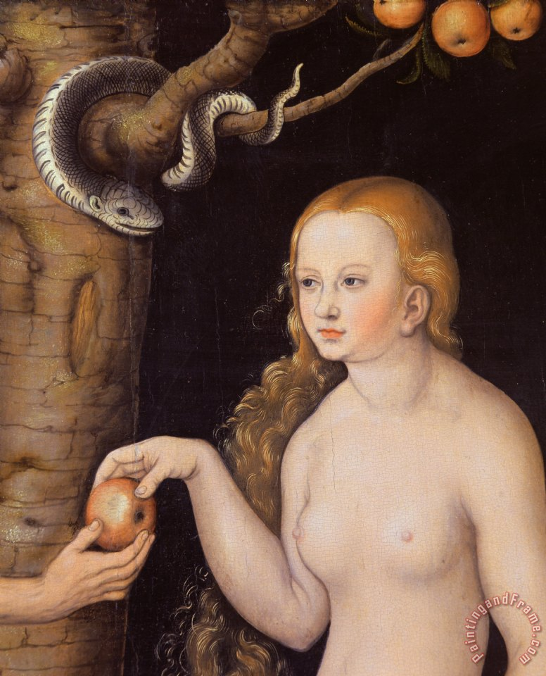 Eve offering the apple to Adam in the Garden of Eden and the serpent painting - Cranach Eve offering the apple to Adam in the Garden of Eden and the serpent Art Print
