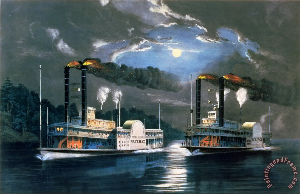 A Midnight Race on the Mississippi painting - Currier and Ives A Midnight Race on the Mississippi Art Print