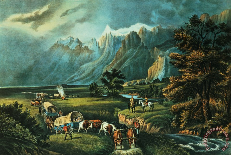 Emigrants Crossing the Plains painting - Currier and Ives Emigrants Crossing the Plains Art Print