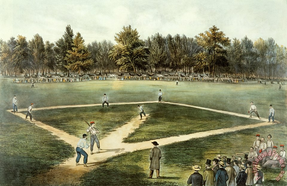 The American National Game of Baseball Grand Match at Elysian Fields painting - Currier and Ives The American National Game of Baseball Grand Match at Elysian Fields Art Print