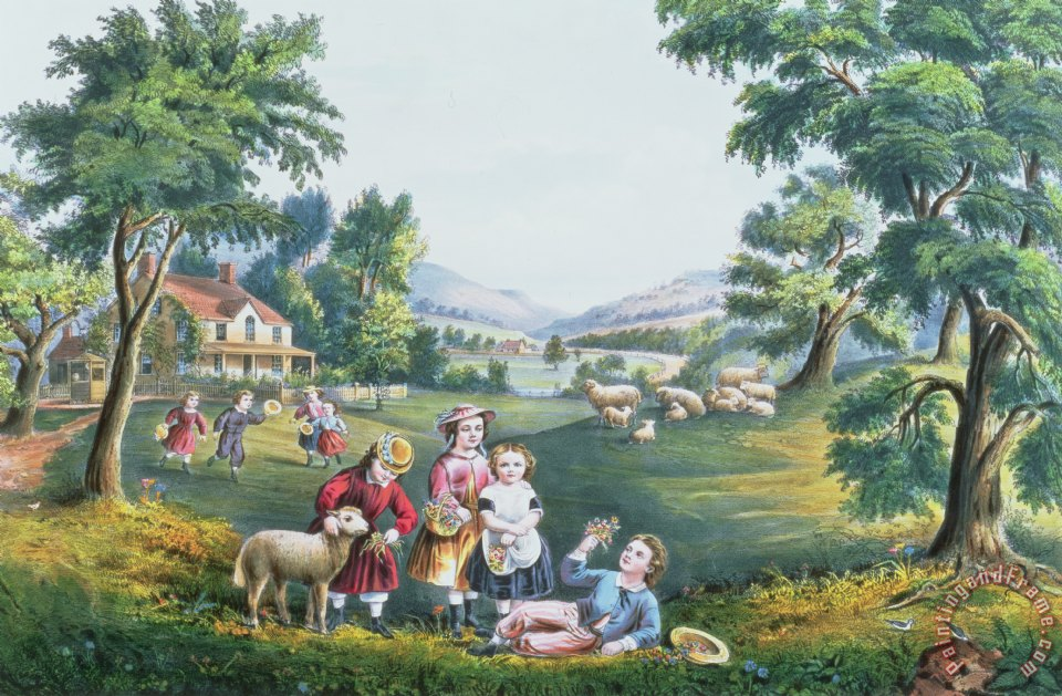 The Four Seasons of Life Childhood painting - Currier and Ives The Four Seasons of Life Childhood Art Print