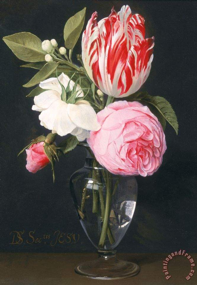 Daniel Seghers Flowers In A Glass Vase Painting Flowers In A Glass