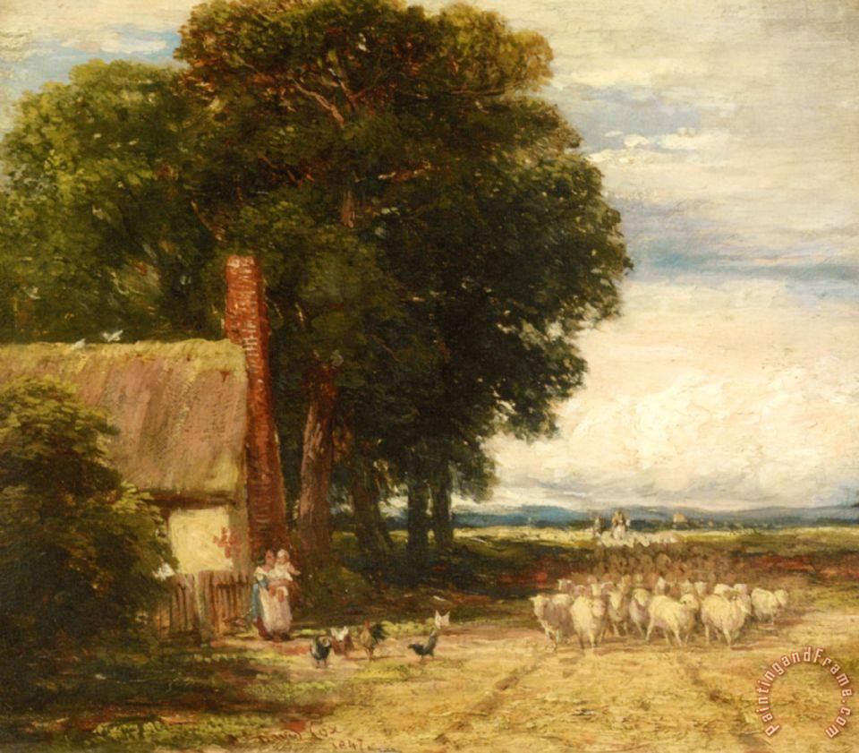 David Cox Landscape with a Shepherd And Sheep Art Print