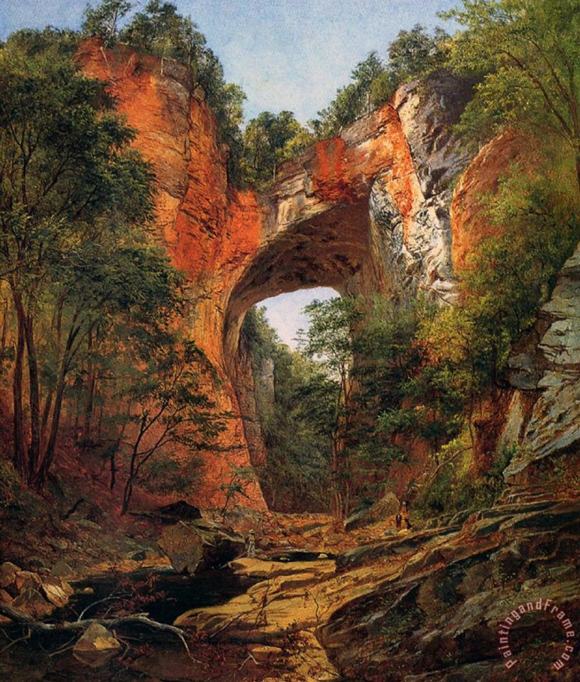 David Johnson A Natural Bridge in Virginia Art Print