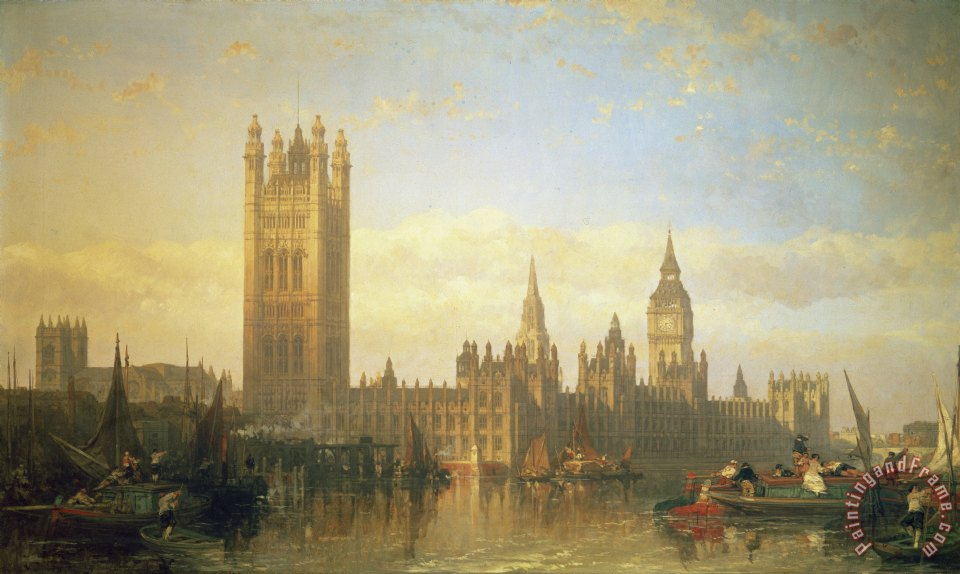 david roberts new palace of westminster from the river