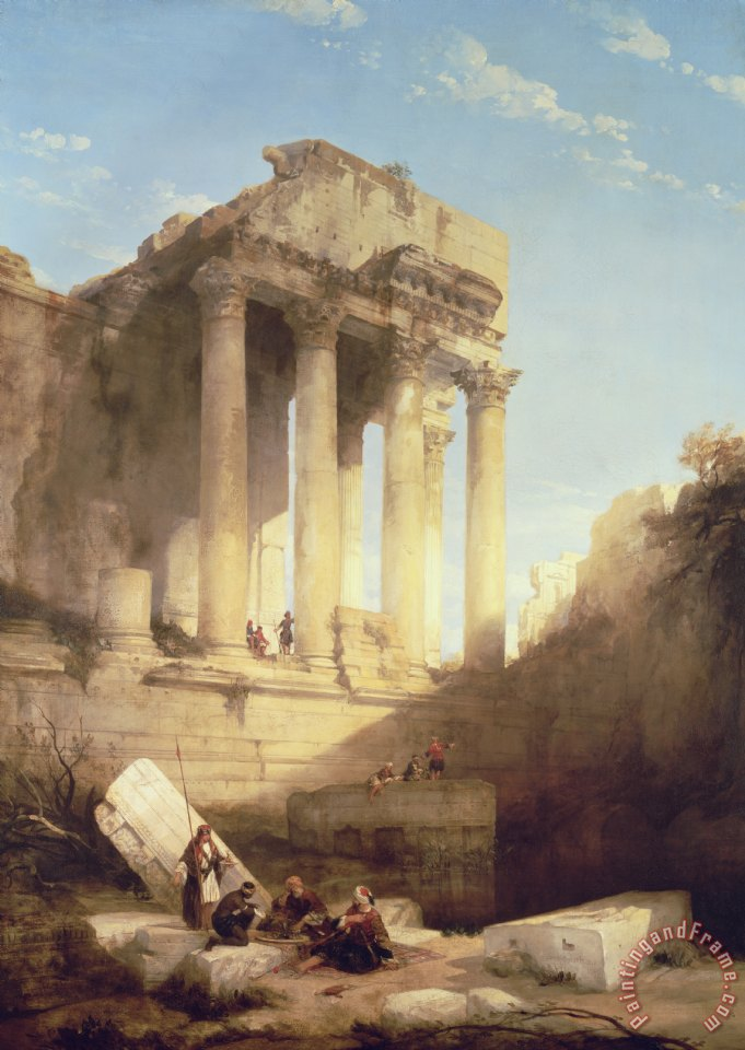 David Roberts Ruins of the Temple of Bacchus Art Painting