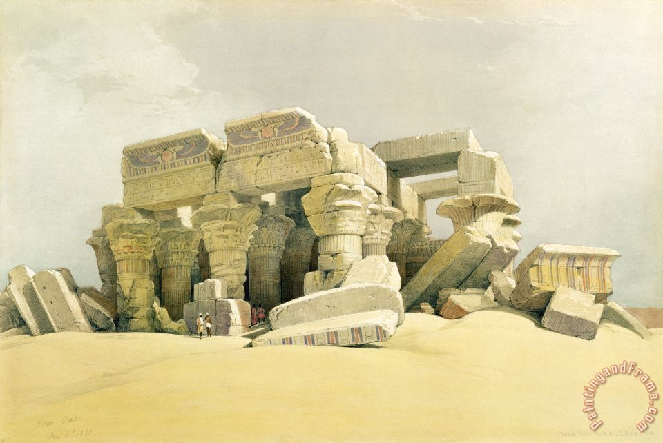 David Roberts Ruins Of The Temple Of Kom Ombo Art Painting