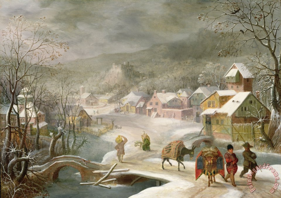 A Winter Landscape with Travellers on a Path painting - Denys van Alsloot A Winter Landscape with Travellers on a Path Art Print