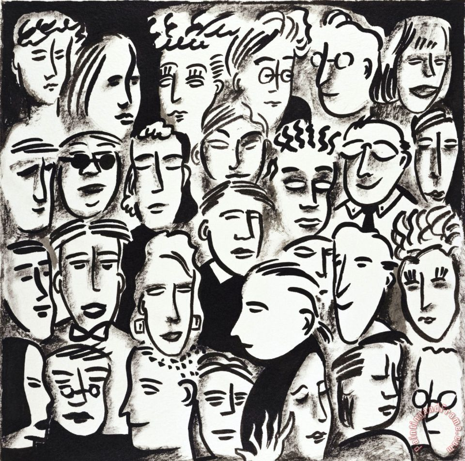 Faces In Black And White Painting
