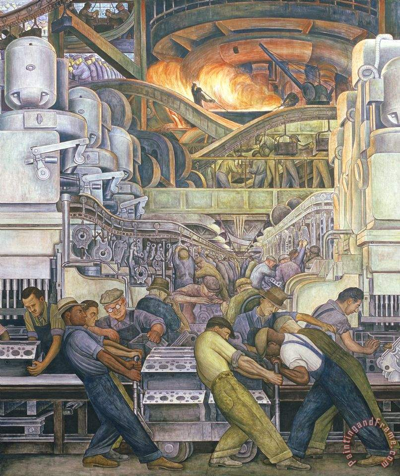 Diego rivera detroit industry north wall painting for Detroit rivera mural