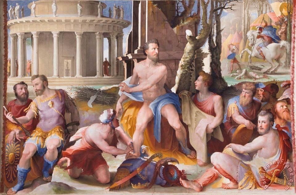 Domenico Beccafumi Public Virtues of Greek And Roman Heroes The Sacrifice  of King Codron of Athens painting - Public Virtues of Greek And Roman  Heroes