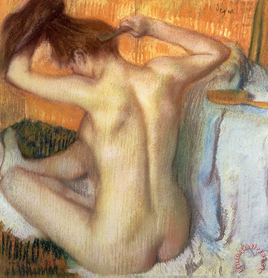 Woman combing her hair painting - Edgar Degas Woman combing her hair Art Print