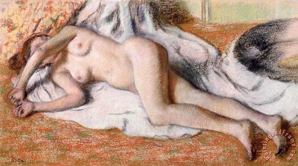 After the Bath or Reclining Nude painting - Edgar Degas After the Bath or Reclining Nude Art Print